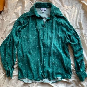 & Other Stories Green Patterned Collared Shirt